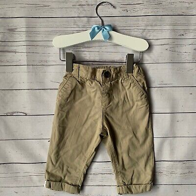 Baby Boys 3-6 Months - Chino Trousers - M&S Beige Lined Smart Adjustable Waist