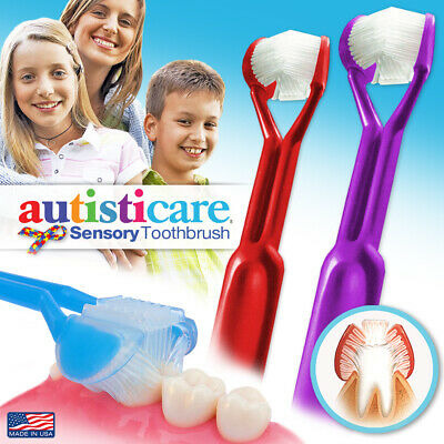 2PK: Autisticare 3-SIDED Toothbrush AUTISM SPECTRUM Special Needs Autistic CHILD