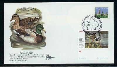 CANADA Wildlife Conservation Duck FDC: UNITRADE #FWH1 1985 $4 Gill Craft $$$