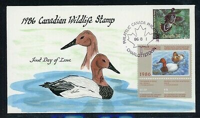 CANADA Wildlife Conservation Duck FDC: UNITRADE #FWH2 $4 Hand Painted THOMPSON $
