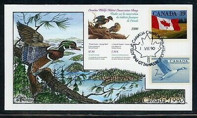 CANADA Wildlife Conservation Duck FDC: UNITRADE #FWH6 1990 $7.50 Milford $$$