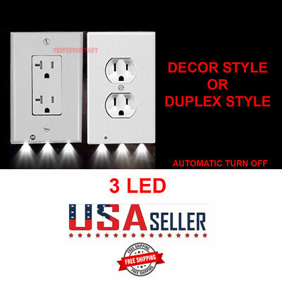Outlet Wall Plate Led Night Lights Cover Duplex Decor With Ambient Light Sensor