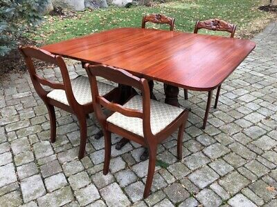 Mahogany Drop Leaf Dining Table with 4 Chairs Hand Carved 1930's Duncan Phyfe