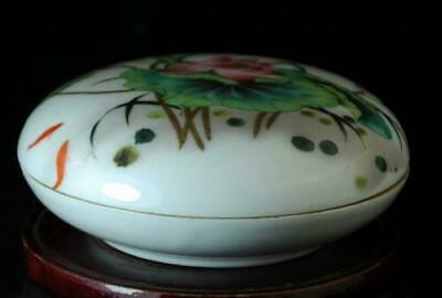 Chinese Old Collection Famille-rose Porcelain Hand Painted Lotus Ink Box