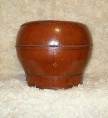 Antique Chinese Lacquered Wood Rice / Grain Barrel With Cover.