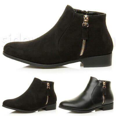 Womens ladies flat low heel work smart pixie chelsea riding ankle boot size