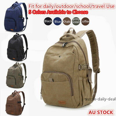 Men Mens Women Large Capacity Backpack Canvas Laptop Notebook School Travel Bag