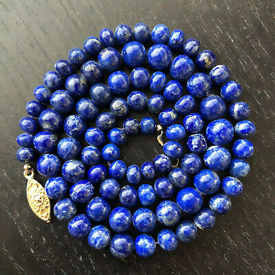 VTG Antique Chinese Carved Lapis Lazuli Graduated Stone Beaded Necklace Art NR