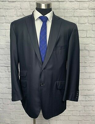 Tom James Royal Classic Navy Blue Wool Canvassed Surgeon Cuff Suit Jacket 44L