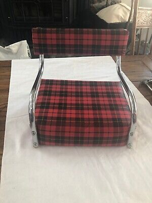 Vintage Toddler Child Booster Seat High Chair Vinyl 1960's Red Plaid