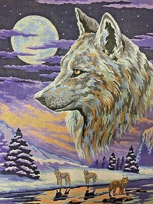 """Vintage Tapestry Canvas """"Wolves"""" by Collection D'Art  Design# - 11408 Unworke"""