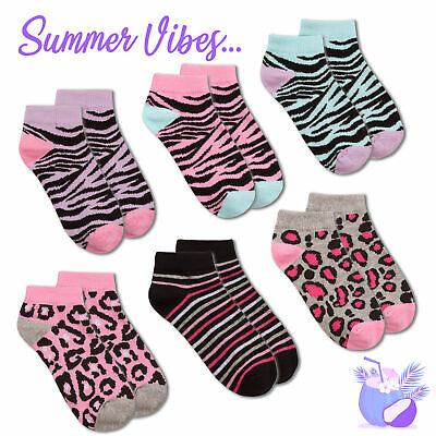 * 3 Pairs Kids Girls Ankle Socks Liners Cotton Rich Elastane Leopard Tiger Zebra