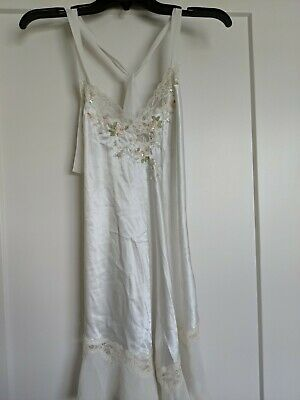 Linea Donatella sexy Whit Bridal Satin Beads Sequins cheer top B Nightgown small