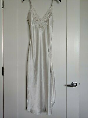 Vintage Delicates white bridal Satin Lace Beads Negligee Nightgown Size S