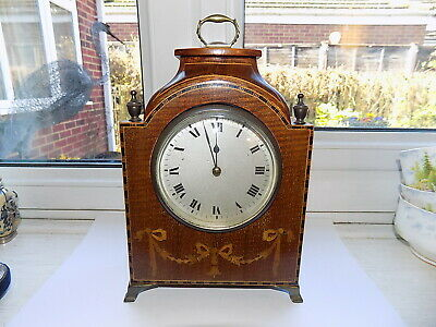 Lovely French Inlaid Mahogany 8 Day Mantel Carriage Clock Platform Movement