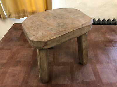 Vintage Rustic Old Solid Wooden 3 Leg Milking Stool