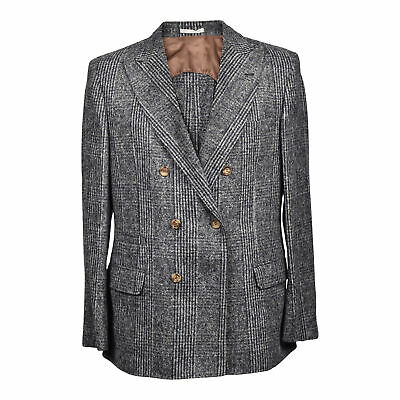 Brunello Cucinelli Men's Alapaca Blend Grey Plaid Double Breasted Blazer NEW