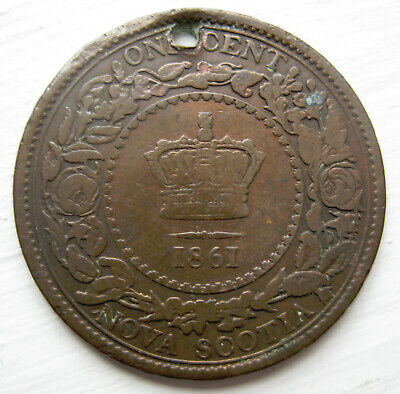 Canada Nova Scotia 1861 Large Cent Holed for Jewelry Low 400,000 Mintage