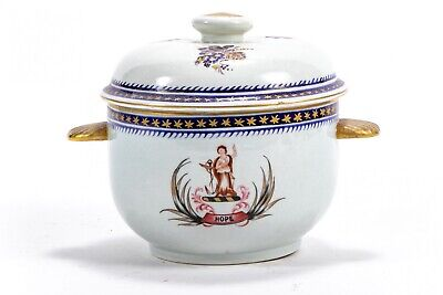 Antique Chinese Export Style Covered Porcelain Box or Bowl & Cover Armorial Hope