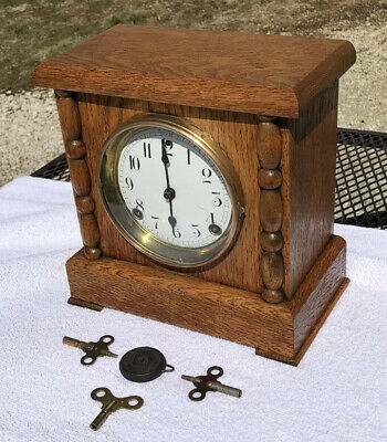 1930's Antique Sessions Mantel Shelf Clock Working Great In Aged oak