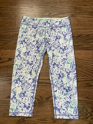 ivivva lululemon Girl's Purple Green White Leggings  Size 14