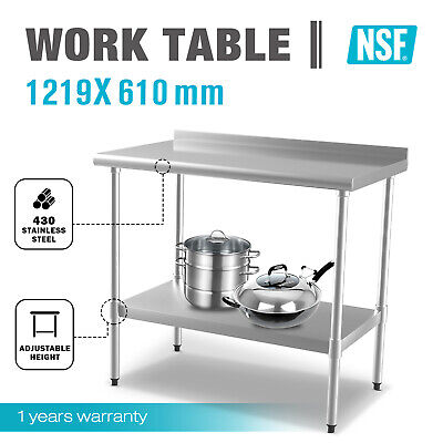 Stainless Steel Kitchen Bench Table Commercial Work Food Prep 1219x610mm 430