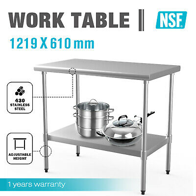 1219x610mm Commercial 430 Stainless Steel Bench Table Kitchen Work Food Grade