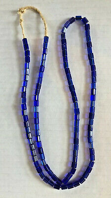 Antique Blue Russian Trade Beads Jewelry Necklace Collectable Craft Faceted