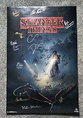 Stranger Things 31x Cast Hand Signed Poster COA Duffer Brothers