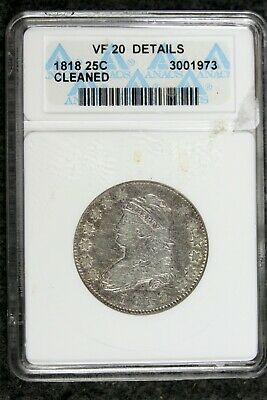 1818 - ANACS VF20 DETAILS CLEANED Capped Bust Half Dollar!!  #B21256