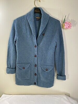 Polo Ralph Lauren Rugby Wool Shawl Cardigan Sweater Leather Patches Medium