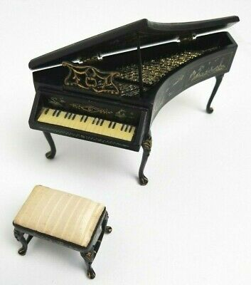 Vintage Miniature Dollhouse Black Piano Japanese Design 70's - 80's with Chair