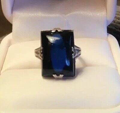 Antique Sterling Silver Art Deco Design Ring Royal Blue Stone Women's Size 5.5