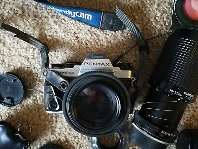 Pentax Super Program 35mm SLR Film Camera 50 mm, 70-210 lens, filter, bag Kit