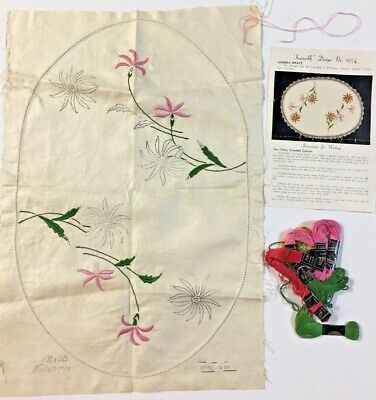 ❤️GERBERAS❤️  Vintage Myart Stamped Linen To Embroider a Traycloth DS 6078
