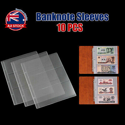 10pcs Paper Money Banknote Holders Album 3 Pockets Pages Sleeves Storage Note +