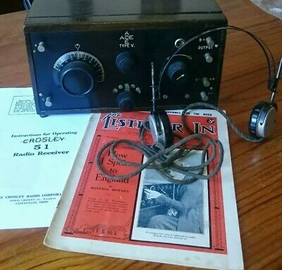 Vintage Crosley ACE TYPE V  Radio with headphones & 01A valves  all working 1922