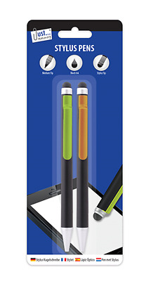 2 in 1 Universal Touch Screen Stylus Pen Black Ink - For iPad iPhone - PACK OF 2
