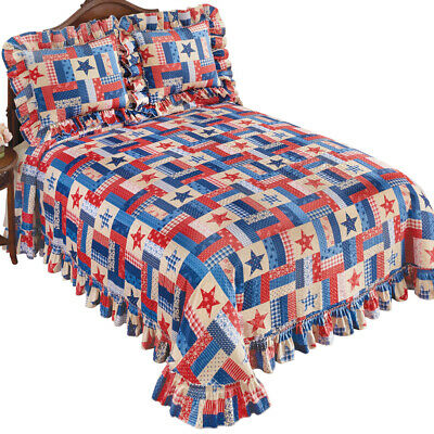 Patriotic Star and Stripe Patches Americana Plisse Bedspread