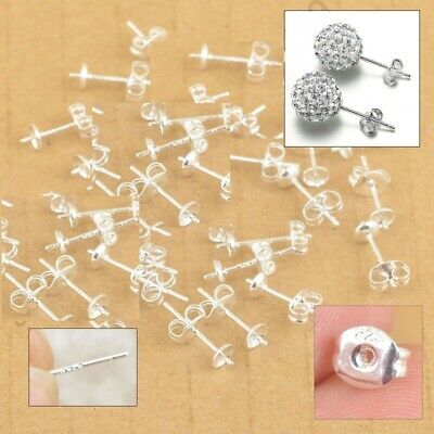 10 Pairs Sterling Silver Jewellery Findings Ear Pin Stud Earrings With 925 BACK