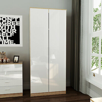 Bedroom Furniture White&Oak Wood Wardrobe High Gloss Doors With Hanging Rail