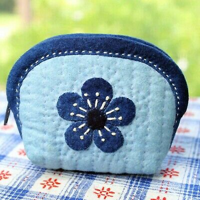 Plum Coin Purse, DIY Embroidery Kit, Applique Embroidery purse, (complete kit)