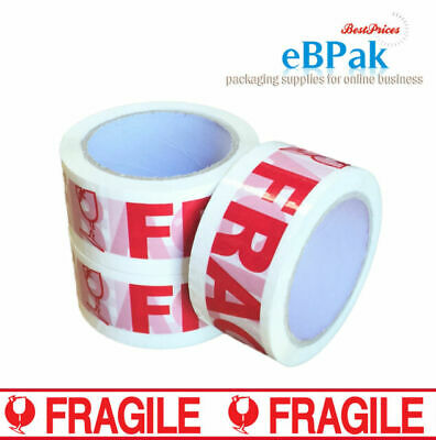 Strong 48mm x 40m Packaging Tape Fragile Red on White