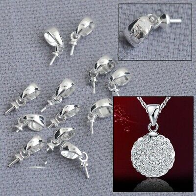 925 Sterling Silver  Jewellery Sets Findings Cup Cap Bail Connector For Pendant