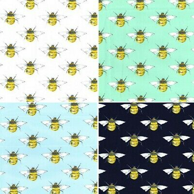 100% Cotton Poplin Fabric Rose & Hubble Bumble Bees Honey Bee