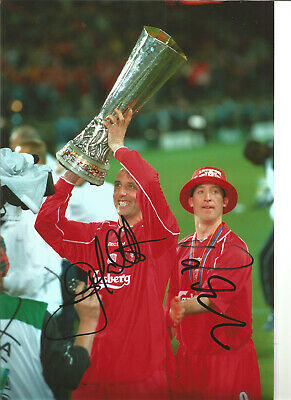 Robbie Fowler Gary Mcallister Liverpool signed authentic football photo SS296C