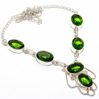 "Burmese Peridot 925 Sterling Silver Necklace 16-18"" (2584) 1473"