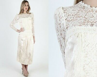 Vintage 80s Jessica McClintock Dress Sheer Ivory Lace Floral Satin Wedding Maxi