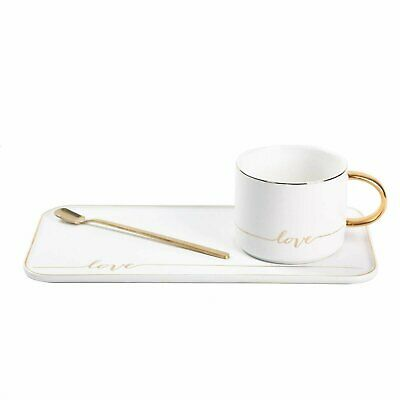 TJ Gobal Porcelain Coffee Mug, Tea Cup with Saucer and Golden Spoon with Gold...