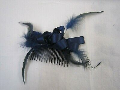 Navy Fascinator Bow  Feather On a comb Wedding Prom Party Race Hair accessories